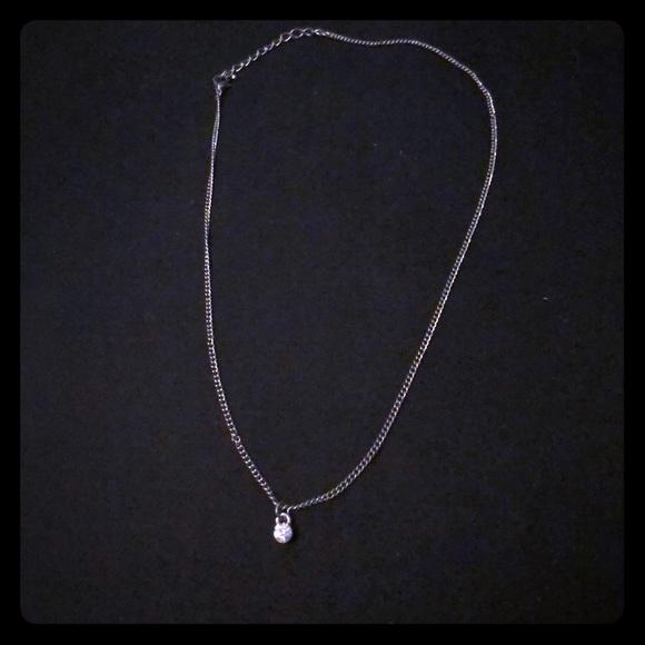 Jewelry Simple Silver Faux Diamond Necklace Poshmark
